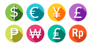 Colourful currency symbols