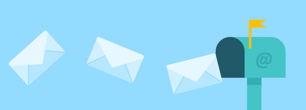 Image of a mail box with flying envelopes