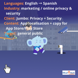 Jumbo privacy and Security mascot, an elephant